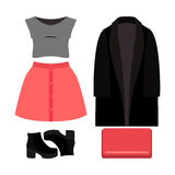 Set of trendy women's clothes. Outfit of woman coat, skirt, blou Stock Photography