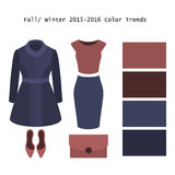 Set of  trendy women's clothes. Outfit of woman coat, skirt, top. And accessories. Full/winter color trends palette. Vector illustration Stock Images