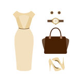 Set of  trendy women's clothes. Outfit of woman dress with acces Royalty Free Stock Photos