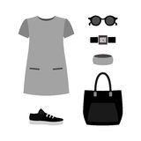 Set of  trendy women's clothes. Outfit of woman dress with acces Stock Images