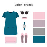 Set of  trendy women's clothes. Outfit of woman dress and access Royalty Free Stock Photo
