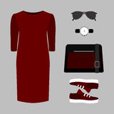 Set of trendy women's clothes. Outfit of woman dress and accesso Royalty Free Stock Photo