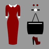 Set of trendy women's clothes. Outfit of woman dress and accessories. Women's wardrobe Royalty Free Stock Photos