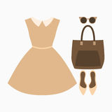 Set of trendy women's clothes. Outfit of woman dress and accessories. Women's wardrobe. Vector illustration Stock Photos