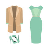 Set of  trendy women's clothes. Outfit of woman dress, jacket an Stock Photos