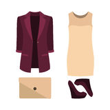 Set of  trendy women's clothes. Outfit of woman dress, jacket an Royalty Free Stock Images