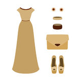 Set of  trendy women's clothes. Outfit of woman evening dress wi Stock Photo