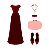 Set of  trendy women's clothes. Outfit of woman evening dress wi Royalty Free Stock Image