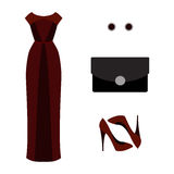 Set of  trendy women's clothes. Outfit of woman evening dress wi Stock Photography