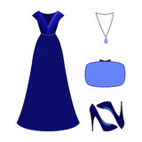 Set of  trendy women's clothes. Outfit of woman evening dress wi Stock Photos