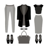 Set of  trendy women's clothes. Outfit of woman jacket, panties,. Skirt, blouse and accessories. Women's wardrobe. Vector illustration Royalty Free Stock Photo