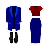 Set of  trendy women's clothes. Outfit of woman jacket, skirt, b. Louse and accessories. Women's wardrobe. Vector illustration Stock Photos