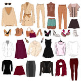Set of trendy women`s clothes. Outfit of woman jacket, Royalty Free Stock Photo