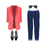 Set of  trendy women's clothes. Outfit of woman jeans, jacket an Royalty Free Stock Photography