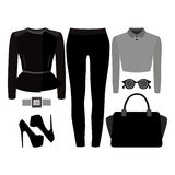Set of trendy women's clothes. Outfit of woman jeans, rocker jac Stock Image