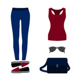 Set of trendy women's clothes. Outfit of woman jeans, tank top a Stock Image