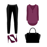 Set of  trendy women's clothes. Outfit of woman panties, blouse Stock Photo