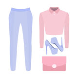Set of trendy women's clothes. Outfit of woman panties, blouse a Royalty Free Stock Photos