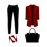 Set of  trendy women's clothes. Outfit of woman panties, jacket Stock Image