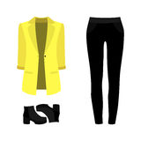 Set of  trendy women's clothes. Outfit of woman panties, jacket Royalty Free Stock Image