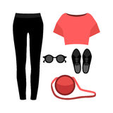 Set of  trendy women's clothes. Outfit of woman panties, top and Royalty Free Stock Image