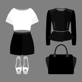 Set of trendy women's clothes. Outfit of woman shorts, rocker ja Royalty Free Stock Images