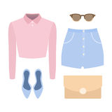 Set of trendy women's clothes. Outfit of woman shorts, shirt and Royalty Free Stock Photos