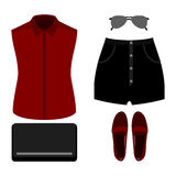 Set of trendy women's clothes. Outfit of woman shorts, shirt and Stock Photography