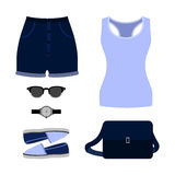 Set of trendy women's clothes. Outfit of woman shorts, tank top Royalty Free Stock Photography