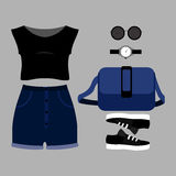 Set of trendy women's clothes. Outfit of woman shorts, top and a Royalty Free Stock Image