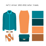 Set of  trendy women's clothes. Outfit of woman skirt, blouse an. D accessories. Full/winter color trends palette. Vector illustration Royalty Free Stock Photos