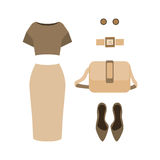 Set of  trendy women's clothes. Outfit of woman skirt, blouse an Royalty Free Stock Images