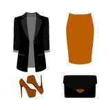 Set of  trendy women's clothes. Outfit of woman skirt, jacket an Royalty Free Stock Photography