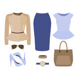 Set of trendy women's clothes. Outfit of woman skirt, rocker jac Stock Photography