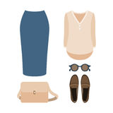 Set of  trendy women's clothes. Outfit of woman skirt, shirt and Stock Photo