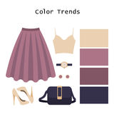 Set of  trendy women's clothes. Outfit of woman top, skirt and a Royalty Free Stock Photography
