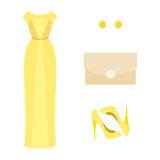 Set of  trendy women's clothes. Outfit of yellow woman evening d Royalty Free Stock Photos