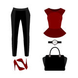 Set of  trendy women's clothes with pants, peplum top and access Royalty Free Stock Photography