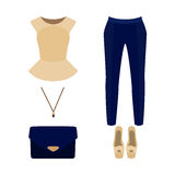 Set of  trendy women's clothes with pants, peplum top and access Royalty Free Stock Photos