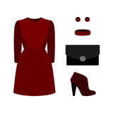 Set of  trendy women's clothes with red dress and accessories.Wo Stock Images