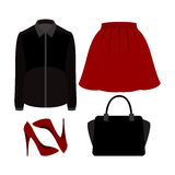 Set of  trendy women's clothes with skirt, blouse and accessorie Stock Photography