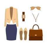 Set of trendy women's clothes with skirt, jacket and accessories Stock Photography