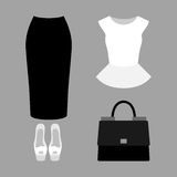 Set of  trendy women's clothes with skirt, peplum top and access. Ories.Women's wardrobe. Vector illustration Royalty Free Stock Images