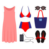 Set of trendy women's clothes with swimsuit Stock Photo