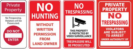 Set of Trespassing sign. Easy to modify Royalty Free Stock Image