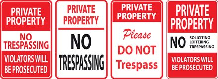 Set of Trespassing sign. Easy to modify Stock Images