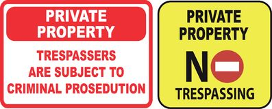 Set of Trespassing sign. Easy to modify Stock Photo