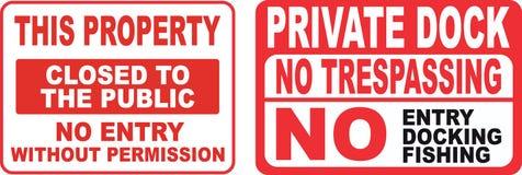 Set of Trespassing sign. Easy to modify Stock Photos
