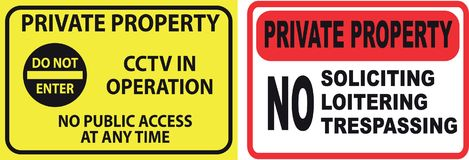 Set of Trespassing sign. Easy to modify Royalty Free Stock Photography