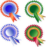 Set of Tri Color Rosette and ribbons Stock Photo